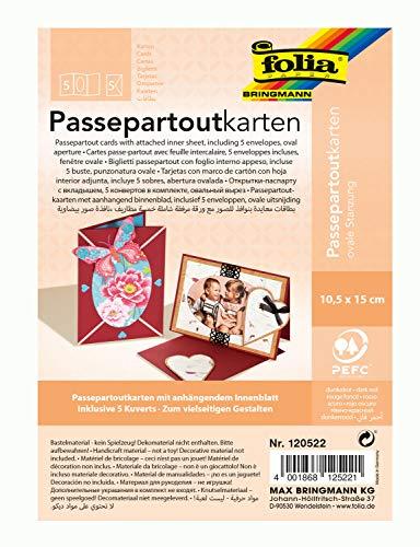 folia 120522 - Passepartouts mit ovaler Stanzung, ca. 10,5 x 15 cm, 5 Karten (220 g/qm) und Kuverts, dunkelrot - ideal für Einladungen, Glückwunsch- oder Grußkarten