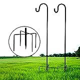X-PREK 35 inch Outdoor Shepherd Hook with 5 Prong Base (2 Packs), Adjustable Heavy Duty Garden Hanging Stake for Bird Feeder Solar Lantern Light Plant Hanger Wedding Decor