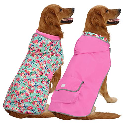 HDE Reversible Dog Raincoat Hooded Slicker Poncho Rain Coat Jacket for Small Medium Large Dogs (Floral Pink, L)