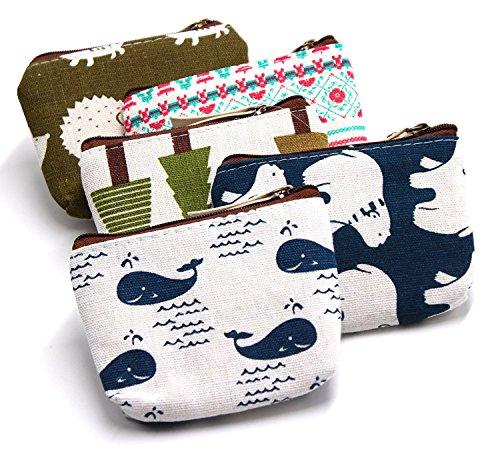Pencil Case Set van 5 Schattige Animal Canvas Change Coin Portemonnee Tas Gift met Rits en Liner