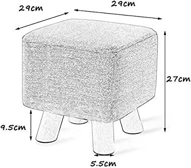 lyqqqq Ottomans Wooden 4 Legs Flax Small Stool Change Shoe Bench Living Room Household-Footstool Sofa Stool Wooden Bench Seat
