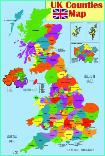 gelamineerd Educatieve wandposter UK provincies kaart | GB Nederland provincies Poster