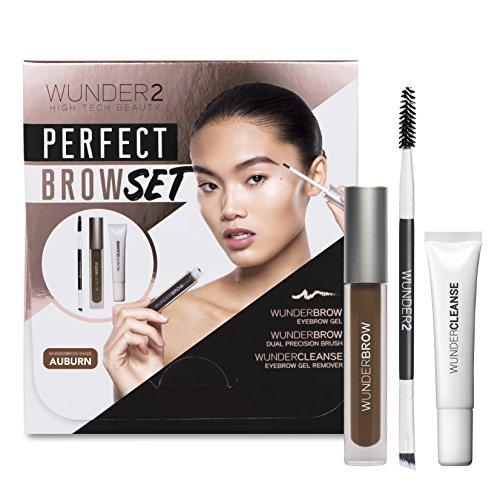 WUNDER2 PERFECT BROW SET- WunderBrow Eyebrow Gel, WunderCleanse & Dual Precision Brush, Auburn