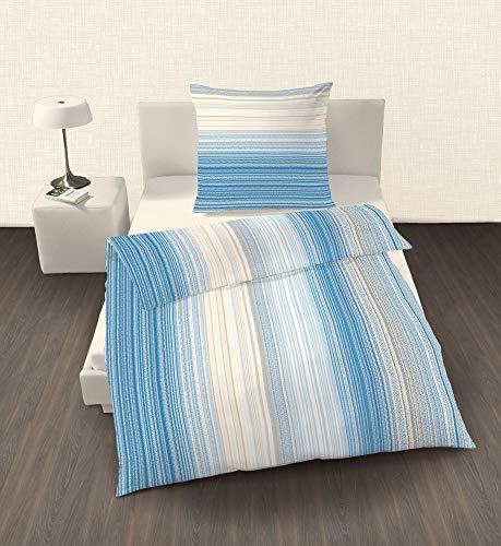 Unbekannt Ido renforcé Parure de lit 2 pièces Bleu rayé blanc 135 x 200 cm (80 x 80 cm)