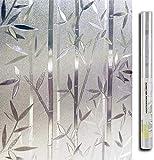 LMKJ Película de Vidrio estático, Utilizada para Adhesivos de privacidad de Vidrio, Vidrio Esmerilado, Adhesivos autoadhesivos para Ventanas Película de Vidrio de bambú 3D A22 45x200cm