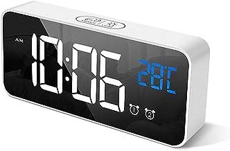Alarm Clocks, Large LED Digital Alarm Clock with Temperature, Snooze, Adjustable Brightness / Alarm Volume and Dual Alarms...