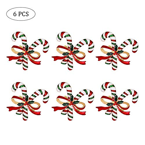 Womdee - Portatovaglioli Natalizi, Set di 6 portatovaglioli, Albero di Natale, Calze, Caramelle e Campanelle, Decorazione da Tavolo per Feste di Natale (Caramella)