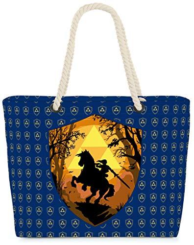 VOID Bolso de Playa XXL Bolsa Shopper Ride Through Hyrule 58 x 38 x 16cm 23l Beach Bag, Kissen Farbe:Azul