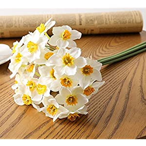6pcs Artificial Narcissus Flower Bouquet Photo Props Flower Arrangement Wedding Home Living Room Party Ornament