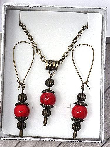 Conjunto de joyas de collar y pendientes estilo vintage para mujer en turquesa reconstituido rojo