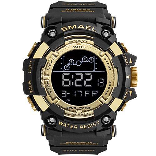 JTTM Digital De Cuarzo para Hombre Reloj,Reloj Digital para con 12/24 Horas/Alarma/Cronómetro Al Aire Libre Deportes Multifuncional De Pulsera para Adolescentes Niños Regalos,Oro