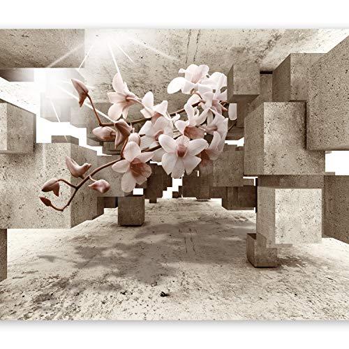 murando Fototapete 3d Effekt 350x256 cm Vlies Tapeten Wandtapete XXL Moderne Wanddeko Design Wand Dekoration Wohnzimmer Schlafzimmer Büro Flur optische Täuschung Illusion Blumen Orchidee b-C-0029-a-b