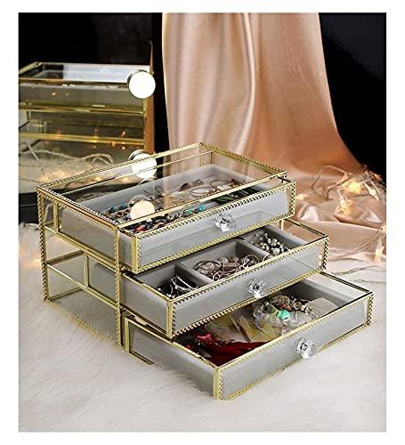 Exquisita caja de joyería de vidrio transparente con 3 cajones, organizador de joyería de terciopelo, anillos de pendiente de la caja de los anillos collares de las pulseras Organizador del titular de