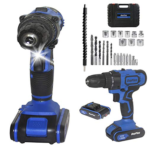 Cordless Drill and Screwdriver Set, 45Nm Power Tool w/ 2 Batteries and 29pcs bit, Feature LED Light, 18+1 Torque, 2-Speed and Forward 7 Reverse Function