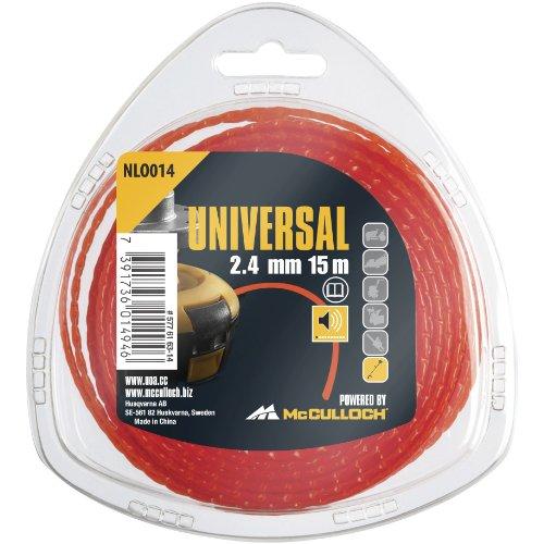 Universal Trimmerleisefaden NLO014: Ersatzfaden für Rasentrimmer, Länge 15 m, Faden-Ø 2,4 mm, patentierte Technik für leisen Betrieb (Art.-Nr. 00057-76.163.14)