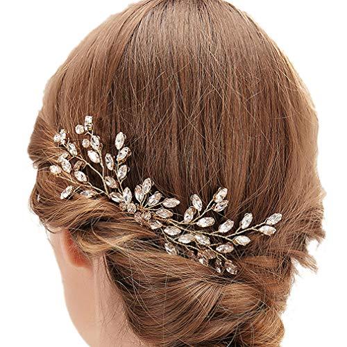 Yazilind Braut Haarnadelclip für Hochzeit, Elegantes Brauthaar Zubehör Kristall Strass Pin Handgemachte Blumenhaar Faux Pearl Comb für Hochzeitsfeier # 1
