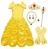 AmzBarley Bambina Principessa Belle Vestito Festa Cosplay Costume Ragazza Compleanno Partito Carnevale Halloween Abito Vestiti Abiti Amarillo 5-6 Anni 120