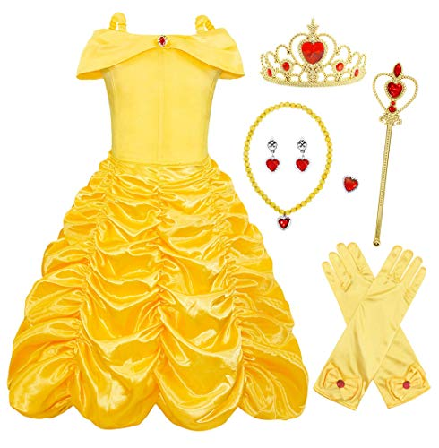 AmzBarley Mädchen Kleid Prinzessin Belle Kostüm Halloween Cosplay Party Dress up Kinder Karneval kostüm mädchen