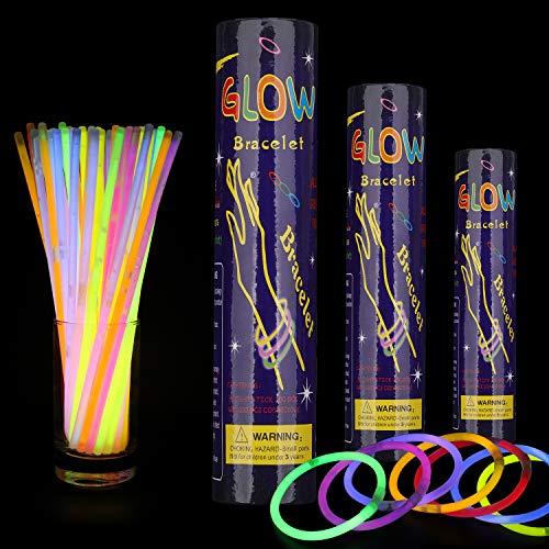Trimming Shop - Pulsera de neón para fiestas, cumpleaños, víspera de Año Nuevo, fiesta de Navidad, recuerdos de boda, palitos de luz de colores mezclados (300 unidades)