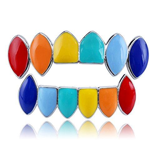 Beautop Mehrfarbige Zahngrill, Hüft-Zähne, Grillz-Kappen (obere kleinere Unterseite, Zahngitter, 1 Set für Männer/Frauen), silber, as pictures