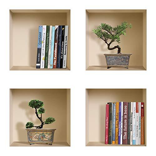 Die entfernbaren Nisha Art Magic 3D-Vinyl-Wandabziehbilder zum Selbermachen, 4er-Set, Bücher und grüne Bonsai