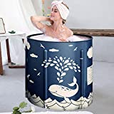 Foldable Bathtub Portable Soaking Bath Tub,Eco-Friendly Bathing Tub for Shower Stall (Whale Blue)