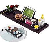 Plateau de baignoire de luxe réglable en bambou avec support pour livre et vin, pour une ou deux personnes avec côtés extensibles pour n'importe quelle baignoire (Noir)