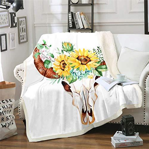 Manta de forro polar para niñas, diseño de calavera de toro, girasol, sherpa, manta para sofá, sofá, elegante, diseño de flores, manta de felpa, decoración de habitación de bebé, 76 x 101 cm