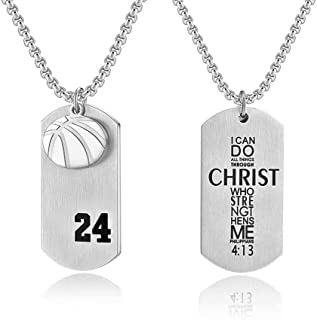 Beimmortal Player Number 24 Basketball Cross Necklace Dog Tag Pendant, Religious Christian Verse Charm Chain Inspiring Faith I Can Do All Things Jewelry