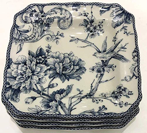 222 Fifth Adelaide Blue Toile Square Salad Plates   Set of 4   8.5' x 8.5'