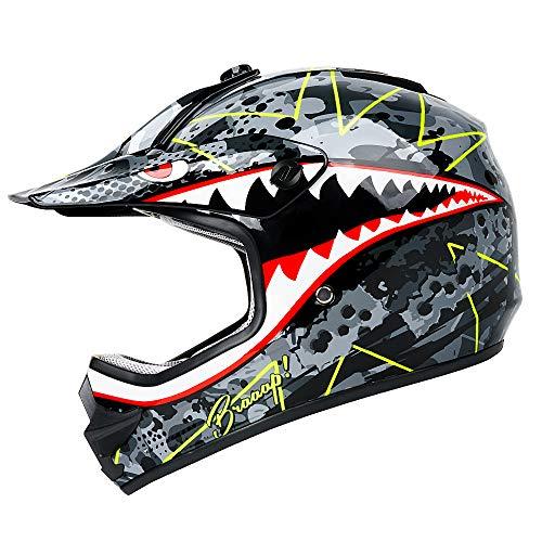 Motocross Youth Kids Helmet Motorcycle Helmet Dirt Bike Motocross ATV Helmet, DOT Approved Offroad Street Helmet(Shark,M)