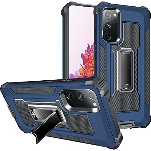 AENLIG - Funda para Samsung Galaxy S20 FE, doble capa resistente de grado militar, resistente a prueba de golpes, con soporte integrado para Samsung Galaxy S20 FE de 6,5 pulgadas (azul oscuro)