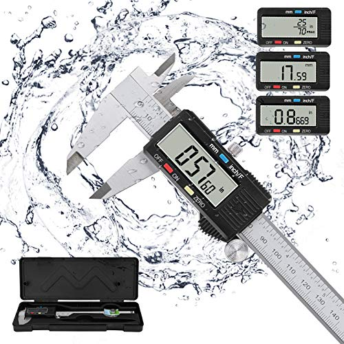 Digital Calipers Micrometer, POWERAXIS Electronic Vernier Calipers Measuring Tool Caliper Micrometer |150mm/0-6 Inch | with Large LCD Screen Inch/Fractions/Metric Conversion -Silver