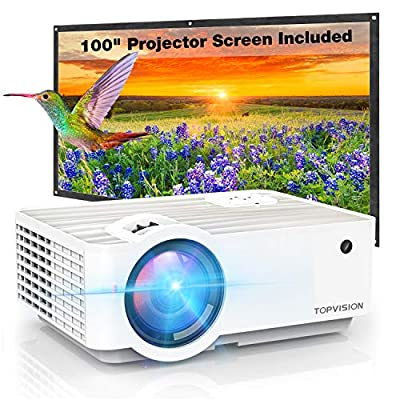 "Video Projector, TOPVISION 4500L Portable Mini Projector with 100"" Projector Screen, 1080P Supported, Built in HI-FI Speakers, Compatible with Fire Stick, HDMI, VGA, USB, TF, AV, PS4 from TOPVISION"