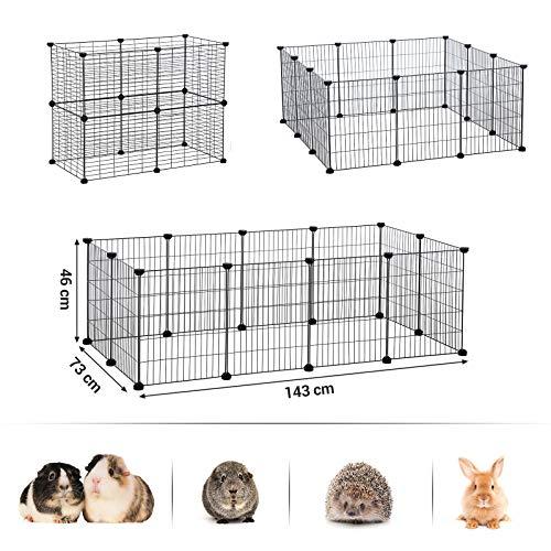 SONGMICS Verstellbares Laufgitter für Kleintiere und Meerschweinchen inkl Gummihammer Gittergehege für Innen individuell zusammenbaubar 143 x 73 x 36 cm (B x H x T) schwarz LPI01H - 5