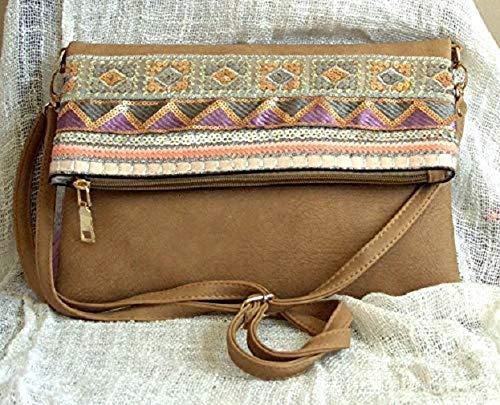 Bolso boho chic hecho a mano imipiel marrón claro cenefa tela tejida...