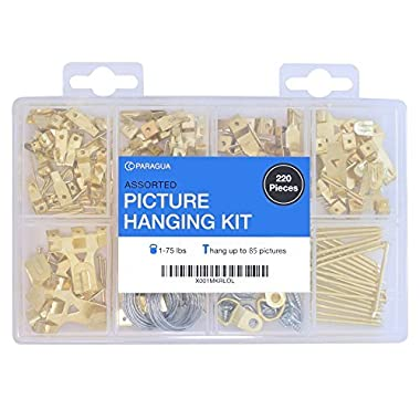 Assorted Picture Hanging Kit   220 Piece Assortment with Wire, Picture Hangers, Hooks, Nails and Hardware for Frames