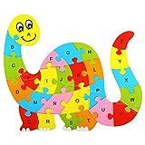 Kofun alfabeto Puzzle Madera Animales El Aprendizaje Juguete Educativo, madera, dinosaurio, 14.5 X 14.5cm/5.71' X 5.71'