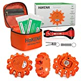HOKENA LED Road Flares Emergency Lights - Roadside Warning Car Safety Flare Kit for Vehicles & Boat - 3 Beacon Disc Pack with Tools for Easy Battery Replacement & Bonus Seatbelt Cutter