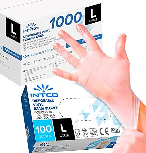 1000 guantes de vinilo desechables sin polvo, sin látex, hipoalergénicos, certificados CE transparentes conforme a la norma EN455 y EN374 R Move (talla L 1000 guantes)