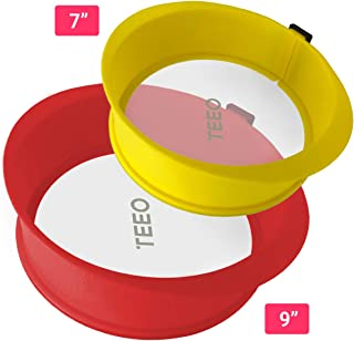 """[2-PACK] Silicone Springform Non-Stick Baking Pan, Removable Ring & Tempered Glass Bottom, Leak-Proof, 100% Food Grade, BPA-Free, Non-Toxic Cheesecake Bakeware/Round Cake Pie Pan-7"""" Yellow & 9"""" Red"""
