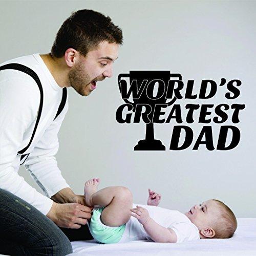 Design with Vinyl RAD 935 1 World's Greatest Dad Trophy Award calcomanía de pared para el día del padre, vinilo, negro, 16 x 24