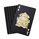 WJPC Black Diamond Unique Cool Stuff Waterproof Playing Cards,Black Plastic Playing Cards for Adults Man, Deck of Cards Poker Cards Gift Party