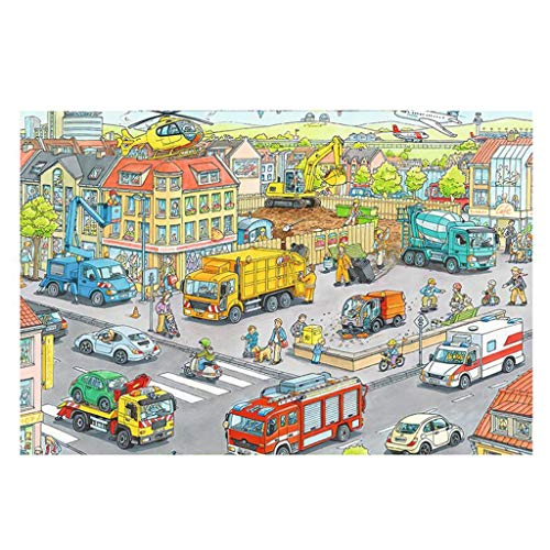 DALL Puzzles Wooden Jigsaw 1000 Pieces Construction Site Adults Kids Education Toys Home Decoration 75 * 50cm (Color : A)