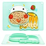 Set de Table en Silicone Assiette,BETOY Antiderapante Portable Placemat Sans BPA, Forte Adsorption, Petit et Exquis Bol Ventouse pour Bébé Pour Bébés, Enfants, Voyages, Restaurants(Forme de bétail)