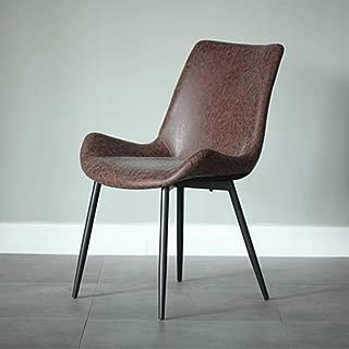 椅子ダイニング、ガーデン椅子モダンシンプルファッションデザインフェイクレザー作り背もたれ人間工学に基づいた椅子サポートビストロオフィスホームルームベッドルームキッチンバレット家具,ブラウン