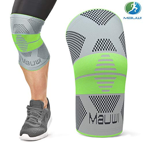 Mauwi Knee Brace - Knee Support for Men & Women - Knee Compression Sleeve for Running, Basketball, Weightlifting, Workout, Crossfit - Knee Stabilizer Brace for Meniscus Tear, Arthritis