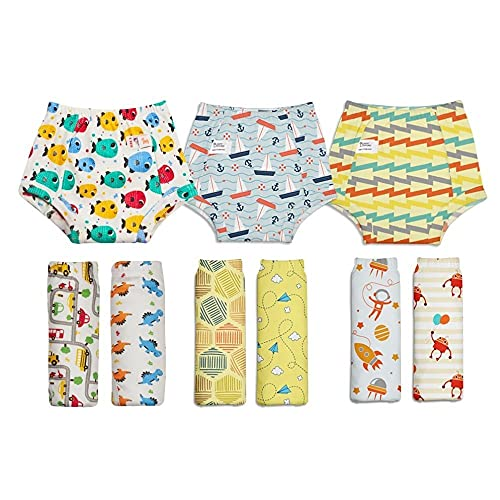 SuperBottoms Padded Underwear - Waterproof Pull up Underwear/Potty Training Pants for Babies/Kids, Pull up unisex trainers for girls and boys (Pack of 9)(Size2)