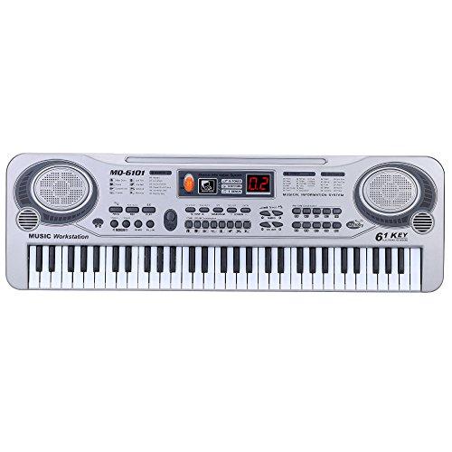 """ammoon 21 """" 61 Teclas LED Teclado Electrónico Juguete Música con Micrófono Electone Educativa Regalo de Navidad para Niños Kids"""