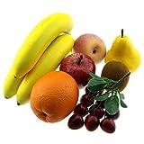 Gresorth Artificial Pear Apple Banana Peach Kiwi Orange Cherry Bunche Decoration Fake Fruit Lifelike Food Kitchen Toy
